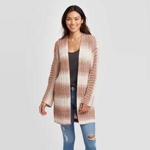 Striped Long Sleeve Open Front Cardigan Duster